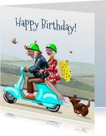 Verjaardagskaart Samen op de scooter