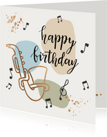 Verjaardagskaart - Saxofoon met muzieknoten