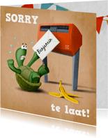 Verjaardagskaart schildpad op rug kan niet bij de brievenbus