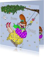 Verjaardagskaarten - Verjaardagskaart Schommel