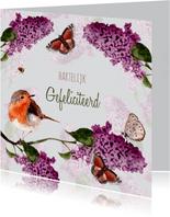 Verjaardagskaart Seringenbloesem met vogel