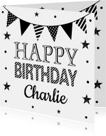 Verjaardagskaart slinger zwart wit confetti