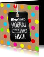 Verjaardagskaart stippen kleur kraft labelprint