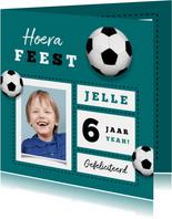 Verjaardagskaart stoer voetbal foto