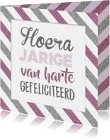 Verjaardagskaart streep pink