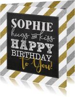 Verjaardagskaart streep zilver goud