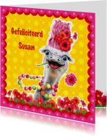 verjaardagskaart struisvogel