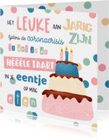 Verjaardagskaart taart confetti corona lockdown party