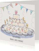 Verjaardagskaart Taart Hartje