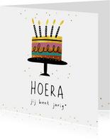 Verjaardagskaart - taart hoera jij bent jarig