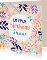 Verjaardagskaart takjes en bloemen