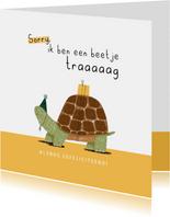 Verjaardagskaart te laat beetje traag schildpad feest geel