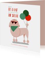 Verjaardagskaart te laat in stijl met poedel en ballonnen