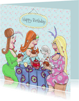 Verjaardagskaart teatime girls