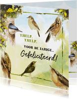 Verjaardagskaart tjielpende vogels