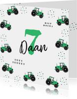 Verjaardagskaart tractor en confetti
