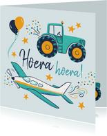 Verjaardagskaart trekker en vliegtuig