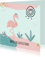 Verjaardagskaart tropical flamingo in pastelkleuren