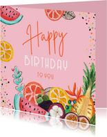 Verjaardagskaart tropisch fruit en confetti