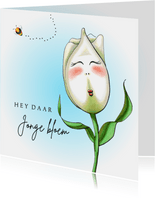 Verjaardagskaart tulp jonge bloem