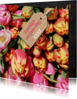 Verjaardagskaart tulpen kleur av