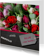 Verjaardagskaart tulpen rood