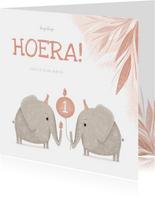 Verjaardagskaart tweeling roze 1 jaar olifantjes met vogels