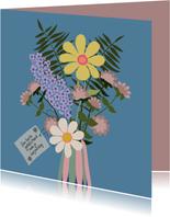 Verjaardagskaart - vaas met bloemen