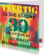 Verjaardagskaart veertig is het nieuwe 30