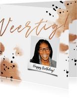Verjaardagskaart 'veertig' met polaroid en koper waterverf