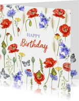 Verjaardagskaart veldbloemen