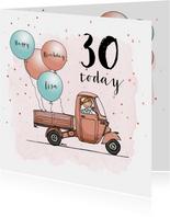Verjaardagskaart Vespa Ape ballon