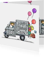 Verjaardagskaart Vespa Ape grijs