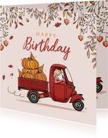 Verjaardagskaart Vespa Ape herfst