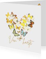Verjaardagskaart - Vlinders in hart vorm