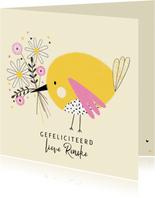Verjaardagskaart vogel bloemen geel