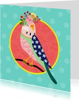 Verjaardagskaart vogel met bloementooi