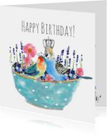 Verjaardagskaarten - Verjaardagskaart vogels in schaaltje met lavendel en bloemen