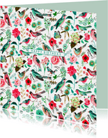 Verjaardagskaart vogels pattern botanisch bloemen