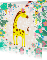 Verjaardagskaart voor kind met vrolijke giraf en slingers