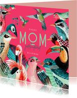 Verjaardagskaart voor mama met allemaal vogels