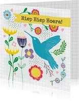 Verjaardagskaart - Vrolijke bloemen & kolibrie