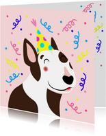 Verjaardagskaart vrolijke bull terrier met slingers
