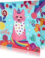 Verjaardagskaart vrolijke kat snoep en bloemen