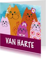 Verjaardagskaart vrolijke katjes