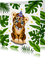 Verjaardagskaart vrolijke tijger jungle voor kind