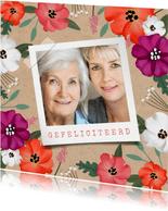 Verjaardagskaart vrouw hip bloemen senior kraft