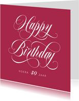 Verjaardagskaart vrouw stijlvol kalligrafie kleur