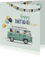 Verjaardagskaart vw busje met ballonnen
