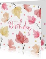 Verjaardagskaart waterverf bloemen en vlinders